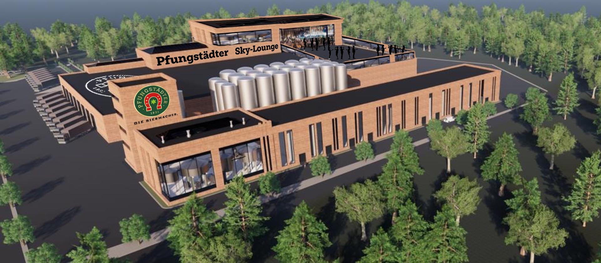 Visualisierung Brauereineubau auf Schwimmbadareal Pfungstadt